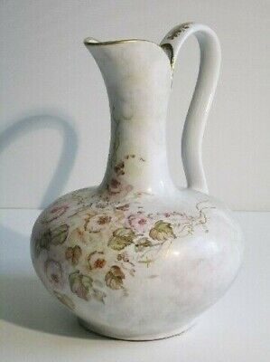 Vintage Vase Decorative IN Ceramic Hand-Painted With Blossom & Leaves Xx Century