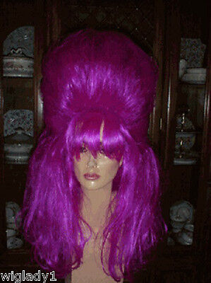 Sin City Costumes (SIN CITY FUN WIGS COSTUME DRAG QUEEN PINK FUCHSIA HALF UP BIG HAIR POOF WILD)