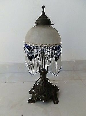 Table Lamp Brass With Glass A Beads Blue