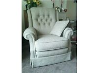 Vale Bridgecraft Amalfi 3 Piece Suite Oatmeal Colour and Foot Stool