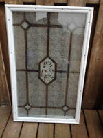 22 x 38 Decorative Frosted Glass Insert For Sale!