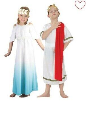 Mädchen Jungen Römisch Kostüm Göttin Kaiser Toga Grichischer Kostüm