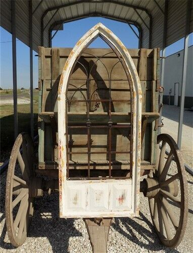 French Country Wood Metal Gothic Window Frame, Distressed Wall Decor,
