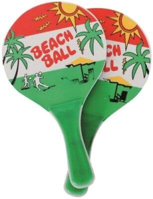 1x Beachball Set Beach Ball 2 Schläger + Bälle Strand Spiel Tennis Strandspiel ()