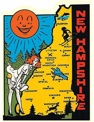 New Hampshire State Map (New Hampshire  State Map   NH    Vintage 1950's  Looking Travel Sticker Decal)