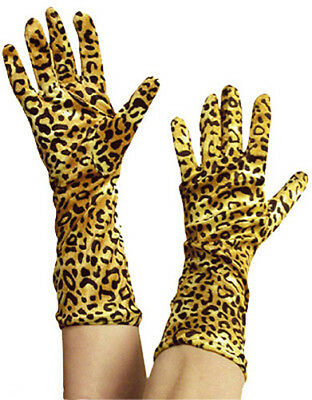 Lang Leopardenmuster Handschuhe Damen 60er Jahre 70er 80er Fancy-Dress - Damen Leopard Fancy Dress Kostüm
