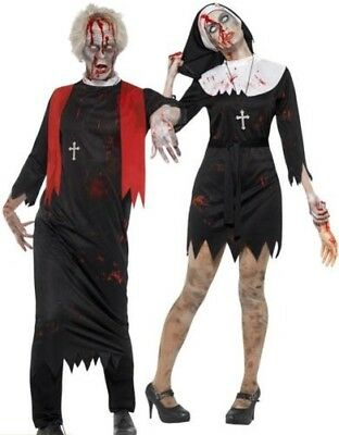 Erwachsene Zombie-Nonne Priester Paar Kostüm Herren Damen Halloween Kostüm