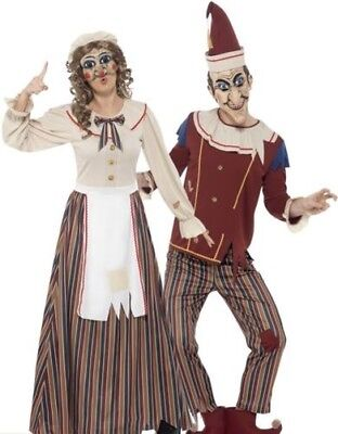 Mens Ladies Possessed Punch Judy Costume Couples Halloween Fancy Dress New - #1 Couple Halloween Costumes