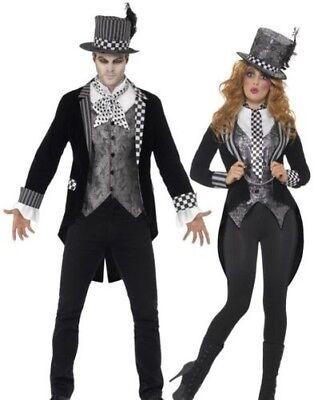 Luxus Dunkel Mad Hatter Kostüm Herren Damen Halloween Alice Kostüm Neu