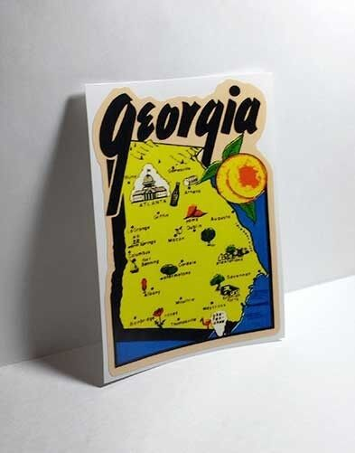 State of Georgia Vintage Style Travel Decal / Vinyl Sticker, Luggage Label