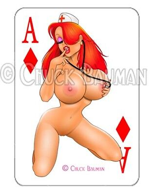 Jessica Rabbit Naughty Nurse 2018 playing card decal sexy pin-up sticker - Pin Up Nurses