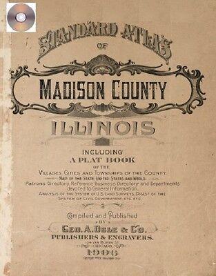 Madison County Illinois 1906 Atlas Genealogy history land owners plat CD