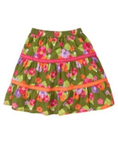 GYMBOREE SURF ADVENTURE OLIVE GREEN w/ FLOWERS SKIRT 3 6 12 18 2T 5T NWT