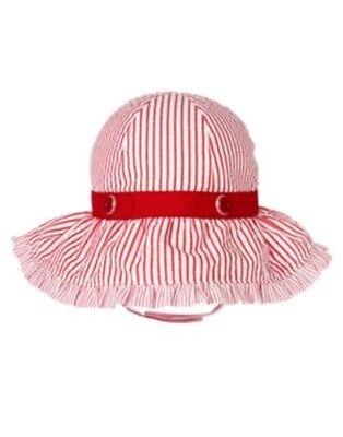 GYMBOREE SAILOR BABY RED SEERSUCKER w BUTTON SUN HAT 0 3 6 12 18 24 NWT-OT