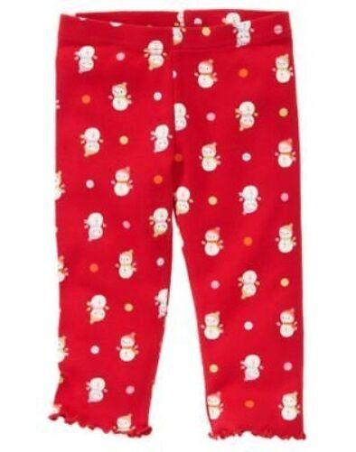 GYMBOREE COZY CUTIE RED w/ SNOWMAN N DOTS LEGGINGS 3 6 12 18 24 2T 3T 4T 5T NWT