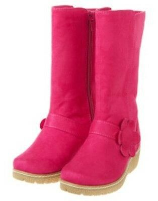 GYMBOREE SMART SWEET PINK FLOWER WEDGE SUEDE BOOT 9 10 11 12 13 1 2 3 NWT
