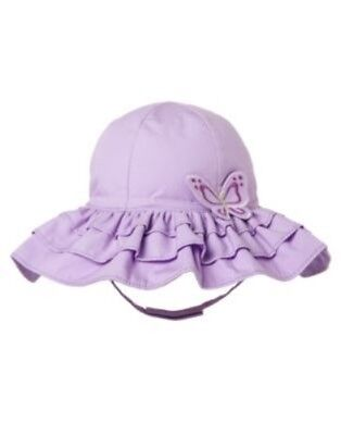 GYMBOREE BUTTERFLY BLOSSOMS LAVENDER BUTTERFLY TIERED SUN HAT 0 12 24 2 3 4 NWT