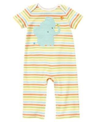 GYMBOREE BRAND NEW BABY STRIPED ELEPHANT UNISEX ONE PIECE ROMPER 6 12 18 NWT-OT