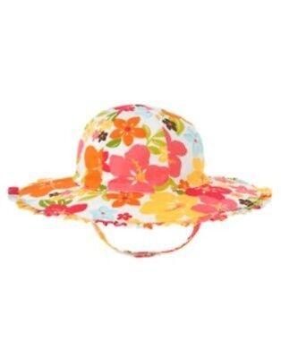 GYMBOREE ALOHA SUNSHINE WHITE w/ FLOWERS SUN HAT 0 12 24 2T