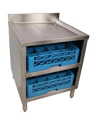 Bk Resources Underbar Glass Rack W Drainboard Top And Open Front Base