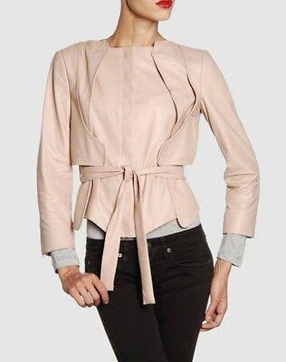 Chaqueta de cuero Antonio Berardi talla 36 rosa claro, leather jacket size...