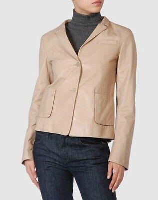 Chaqueta de cuero Jil Sander talla 36 beige, leather jacket Jil Sander...