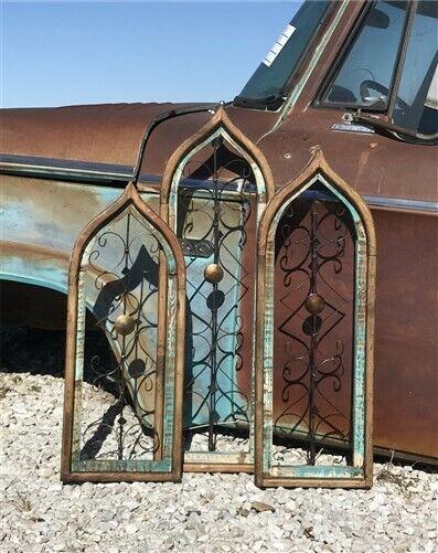 Set 3 Turquoise Brown Gothic Window Frames, Architectural Window Decor, Church