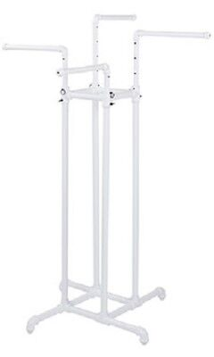 4-way Clothing Rack Pipeline New York Garment District White Adjustable 72 T