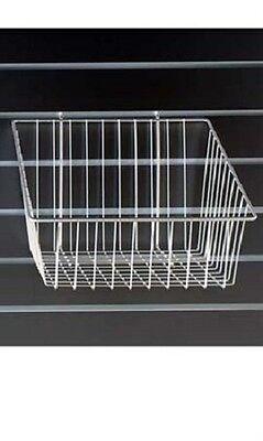 6 Gridwall Wire Slant Baskets White Grid Slatwall Pegboard 12 X 12 X 8 - 4 H