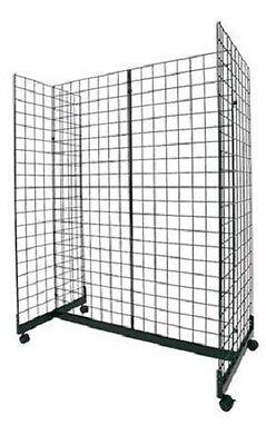 Wire Grid Gondola Black 48 L X 66 H X 24 W Display Rack Casters Rolling 3 Oc