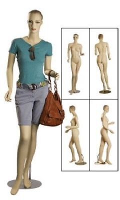 Full Body Female Mannequin Metal Base Clothing Chest 32 5 11 Fiberglass