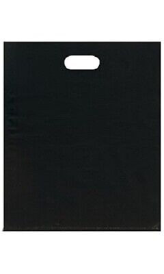 Plastic Bags 500 Black Retail Merchandise Shopping Diecut Handle 15 X 18 X 4