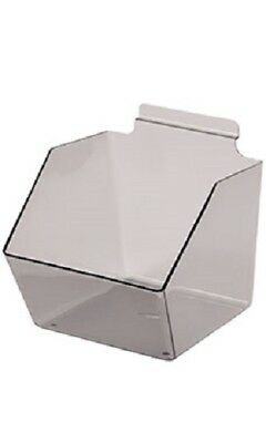 10 Slatwall Bins Dump Acrylic Clear Gray 9 X 6 X 5 Plastic Retail Display