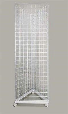 Wire Grid Triangle Tower Display Rack Casters Rolling Casters White 2 X 6 H