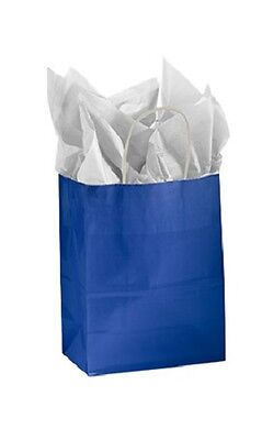 Paper Shopping Bags 100 Glossy Royal Blue Retail Merchandise 8 X 4 D X 10