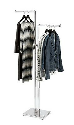 Clothing Rack Two Way 2 Straight Arms Clothes Adjustable Retail Display Chrome