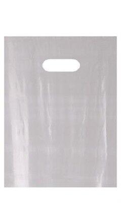 Plastic Bags 1000 Gray Diecut Gift Shopping Retail Merchandise 9 X 12 Die Cut