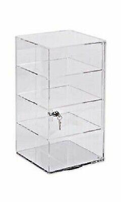 4 Shelf Clear Display Acrylic Case 9 X 9 X 18 Lock Tower Rotating Spinner