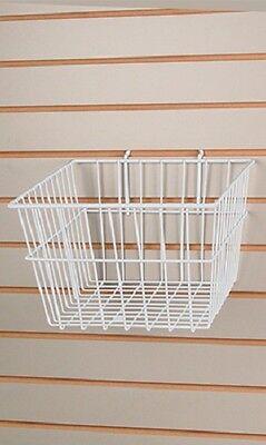 6 Gridwall Wire Baskets White Grid Slatwall Pegboard 12 X 12 X 8 Powder Coat