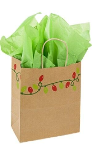 """Paper Shopping Bags 25 Christmas Holiday Lights 8 ¼"""" x 4 ¾"""" x 10 ½"""" Gift Retail"""