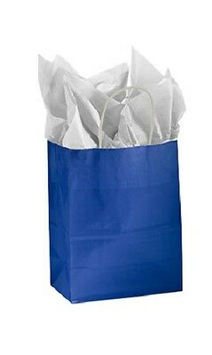 Paper Shopping Bags 25 Glossy Royal Blue Merchandise 8 L X 4 D X 10 High