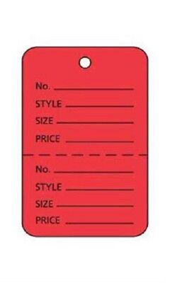 100 Perforated Tags Price Sale 1 X 1 Two Part Red Merchandise Small