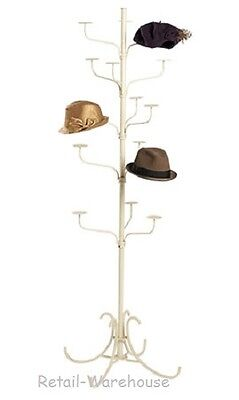 Hat Display Rack Boutique 5-tier Millinery Floor Stand Ivory Finish 15 Cap 72 H