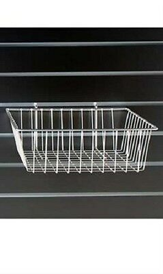 Lot Of 6 Wire Baskets White 12 X 12 X 4 Grid Gridwall Slatwall Pegboard Wall