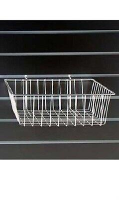 Lot Of 6 Wire Baskets White 12 X 12 X 4 Grid Gridwall Slatwall Pegboard Wall