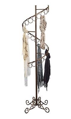 Spiral Scarf Scarves Rack Display 27 Rings 6 Tall X 17 Bronze Teardrop Finial