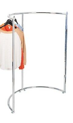 Half Round Clothing Rack Chrome Garment Adjustable 52 72 H Retail Merchandise