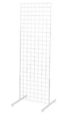 Set Of 2 Gridwall Panels 2 X 6 Grid Wall Display White Panel Steel W 4 Legs