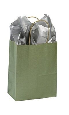 Paper Shopping Bags 100 Metallic Sage Green 8 X 4 X 10 Merchandise