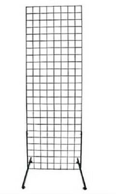 Set Of 4 Gridwall Panels 2 X 6 Grid Wall Display Black Panel Steel 8 Legs